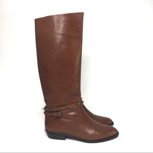 Joan & David Cognac Brown Leather Riding Boots 7.5
